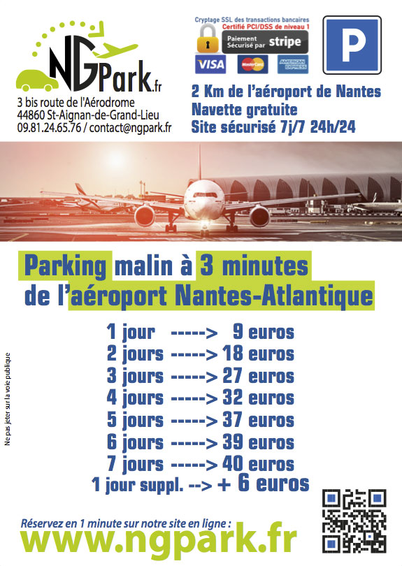 le flyer du parking ngpark a roport de nantes. Black Bedroom Furniture Sets. Home Design Ideas